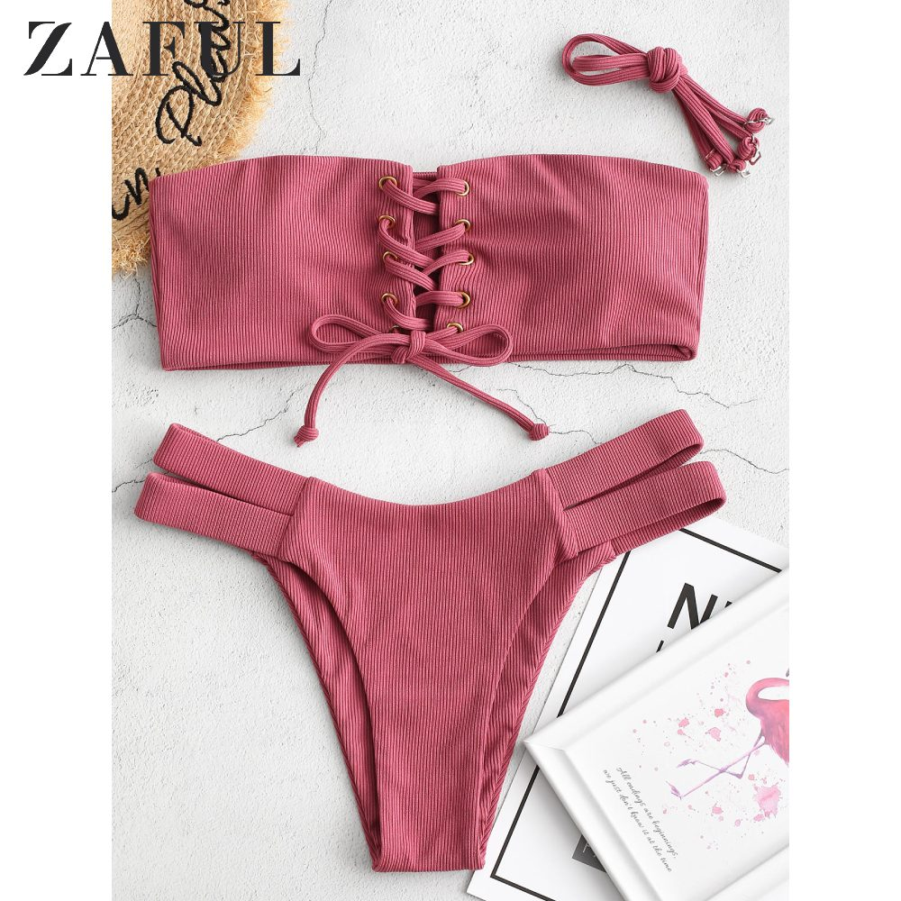 ZAFUL Bikini Women Ribbed Bandeau Lace Up Bikini Swimsuit Sexy Push Up Bathing Suit Solid Cut Out Swimwear 2020