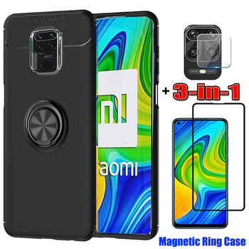 3-in-1 Phone Cases + Camera Glass for Redmi Note 9Pro Magnetic Ring Silicone Cover Note9S Xiomi Note 9 Pro Screen Protector Redmi+Note+8Pro Xaomi Note 9 S Coque Redmi 8T Note8 Pro Xiaomi Note9 Case Redmi 9S RedmiNote 9