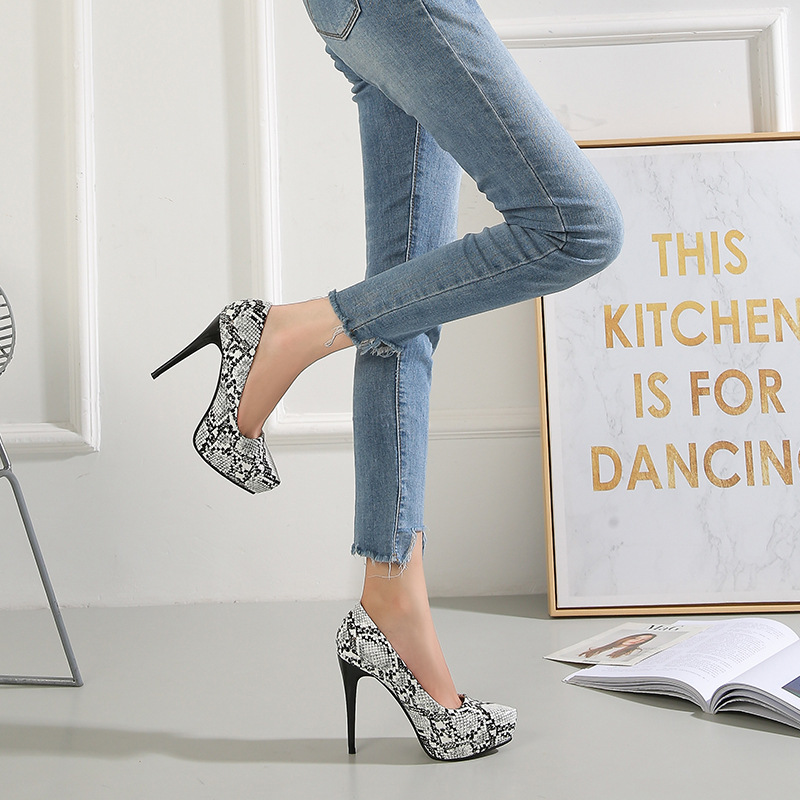 Sexy Thin <font><b>Heels</b></font> <font><b>12</b></font> <font><b>Cm</b></font> <font><b>High</b></font> <font><b>Heels</b></font> Shallow Mouth Serpentine Single Shoes Wild Professional Womens Shoes Elegant Comfort Work Shoes image