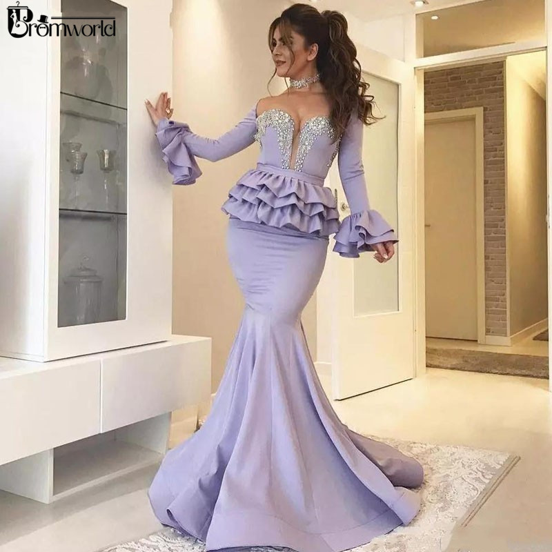Saudi Arabic Muslim Beaded Long Sleeve   Evening     Dress   2019 Off the Shoulder Sweetheart Mermaid Prom   Dresses   abiye gece elbisesi