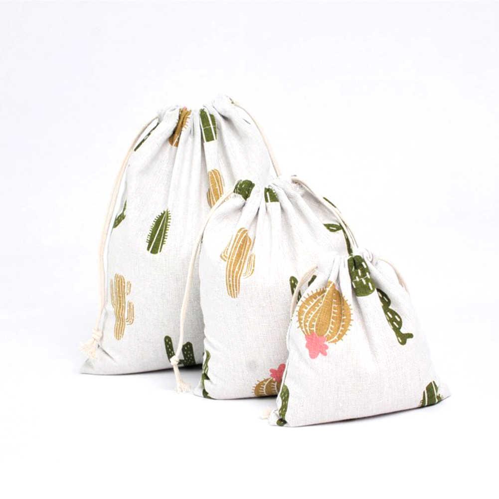 2019 nouveau dessin animé frais à la main motif imprimé coton lin sacs à provisions avec cordon grand stockage cadeaux sac sac d'épicerie