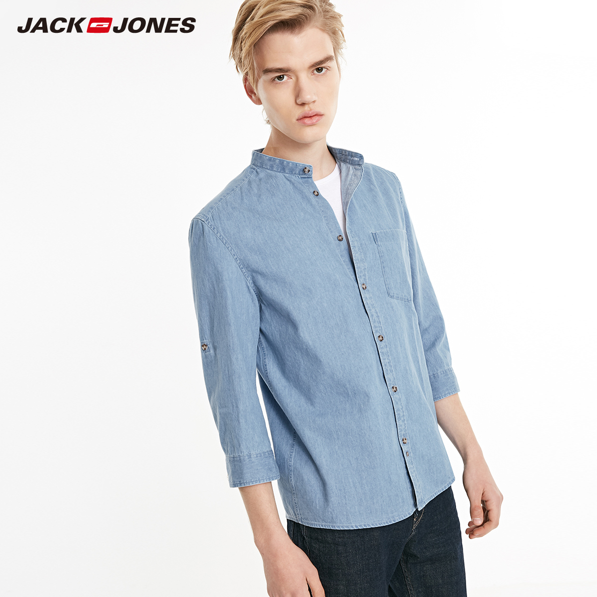 JackJones Men's 100% Cotton Stand-up Collar 3/4 Sleeves Denim Shirt Menswear  219231512