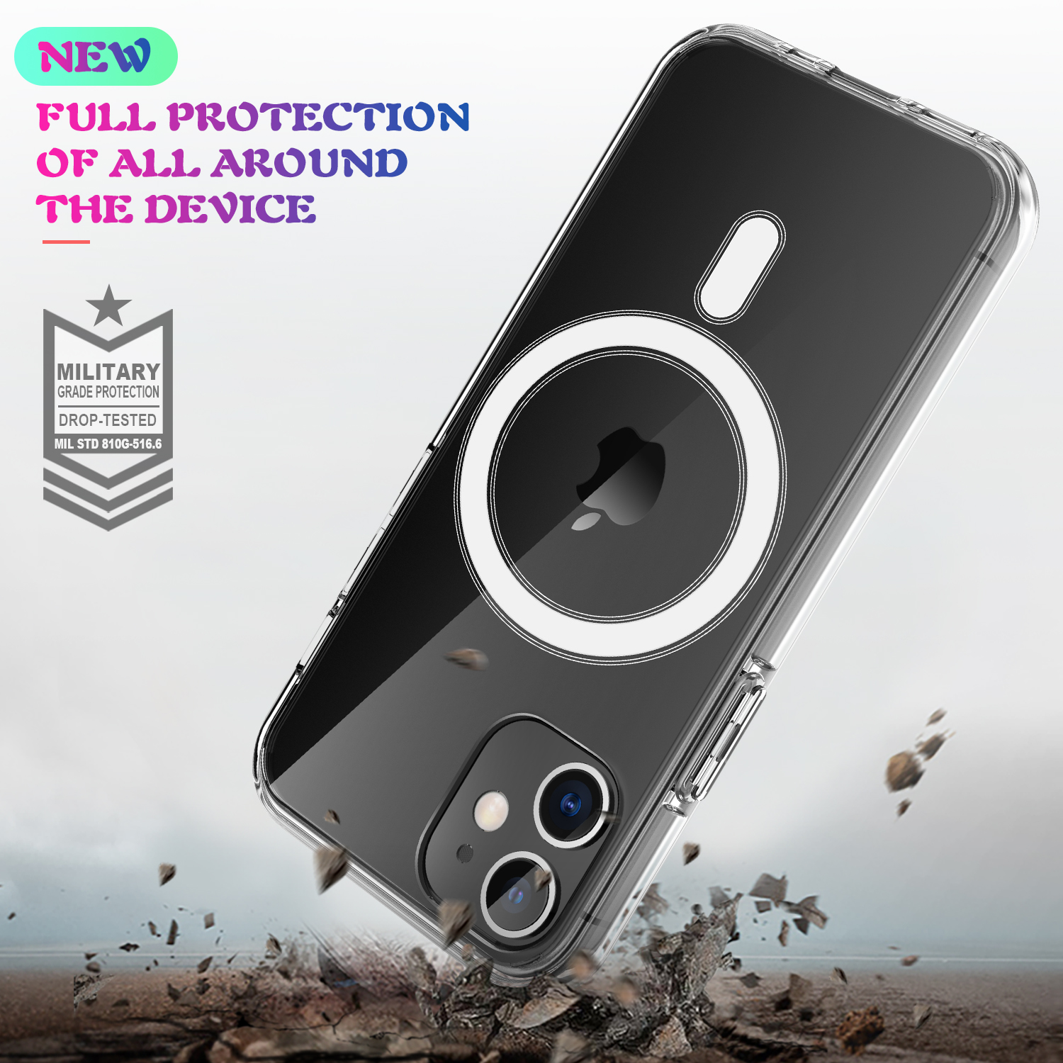 Transparent Clear Acrylic Waterproof Case for iPhone 12 Pro