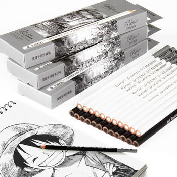 Cartuchera De carbón De 12 Uds., cartulina Profesional negra, Conjunto blanco De lápices, carbonillos Para Dibujar, papelería