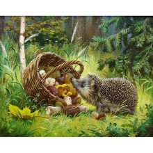 Fezrgea DIY 5D diamond embroidery forest hedgehog mushroom basket painting cross stitch square mosaic decorative