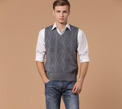 2020 New  Arrival Autumn & Winter Mens V Neck Casual Plaid Cashmere Sweater Vest