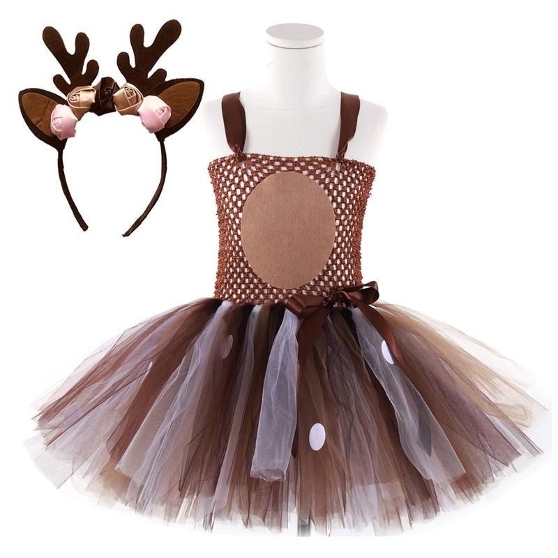 Veados tutu vestido de bebê meninas vestidos para meninas traje de halloween para crianças elk cosplay natal festa de aniversário vestido com bandana