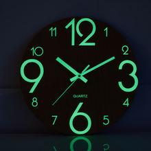 Деревянные настенные часы светящиеся цифры Висячие тихие Светящиеся