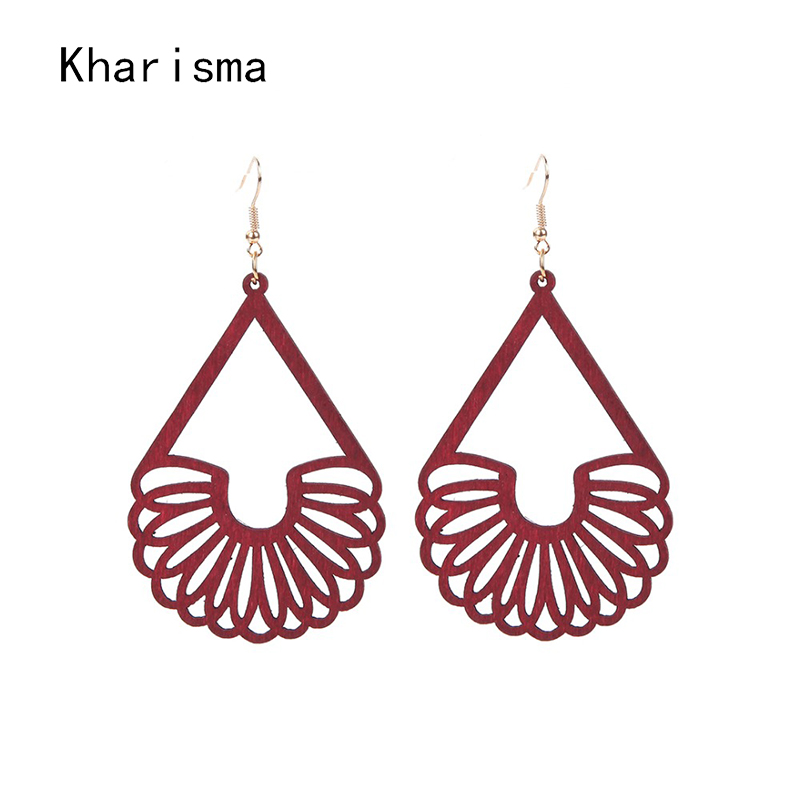 KHARISMA Indian Women Drop Earrings Fashion Jewelry 2019 Ethnic African Red Round Hollow Wood Dangle Earrings For Women Party
