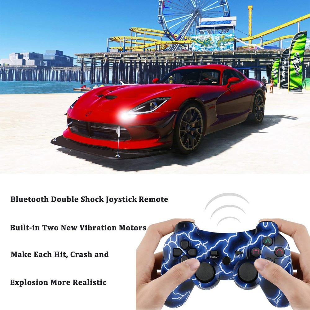 2PCS PS3 Controller Remote Sixaxis Wireless 2 Pack Dual Shock Gamepad For Sony Playstation 3 With Charging Cord
