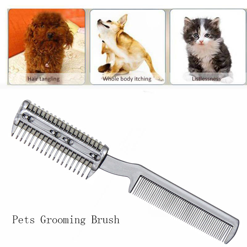 Dog Trimmer Grooming Comb Brush Stainless Steel Pet Dog Cat Pin Comb Hair Removal Shedding Grooming Flea Comb Tool Pet
