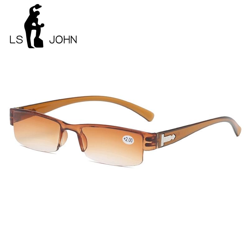 LS JOHN Korean Fashion Reading Glasses Men Women Clear Lens Half Frame Presbyopic Eyewear 1.0 1.5 2.0 2.5 3.0 3.5 4.0 for Reader