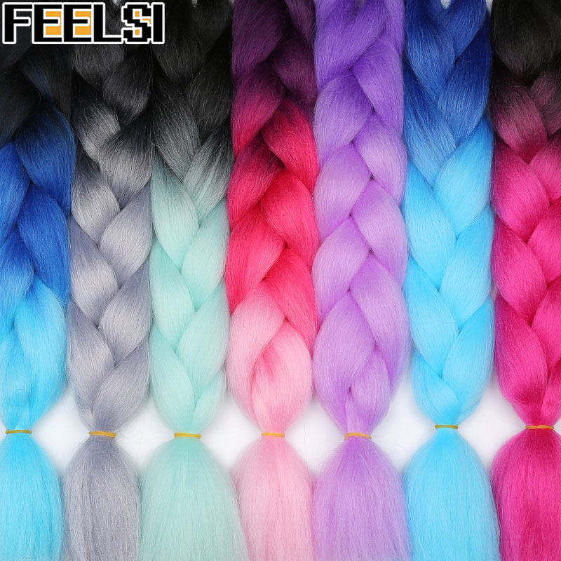 Synthetic Hair Braids Ombre Braiding Hair Extension Box Braids Hair Pink Purple Yellow Golden Colors Crochet Braids Kanekalon