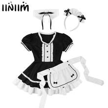 Womens Halloween French Maid Dress Up Cosplay Costume Puff Sleeves Maid Uniform Dress with Apron Headwear Fake collar Clubwear(China)