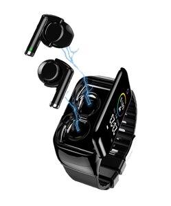 Reloj inteligente M7 con auriculares BT5.0 compatible con llamadas Bluetooth, Monitor de ritmo cardíaco, Smartwatch, auriculares para hombre
