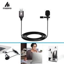 MAONO USB 2,0 Revers Mikrofon Clip-auf Hemd Kragen Mikrofon Freisprecheinrichtung 6M Mini Lavalier-mikrofon für Computer PC laptop