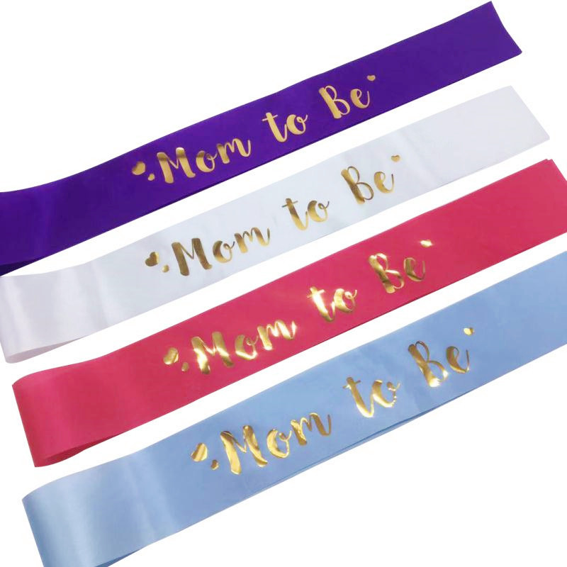 White Blue Hot Pink Mom To Be Satin Ribbon Sash For Gender Reveal Party Baby Shower Decorations Supplies Favor Gifts