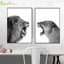Black And White Animals Lion Nordic Poster Tiger Wall Art Canvas Painting Modern Pictures For Living Room Decor Unframed