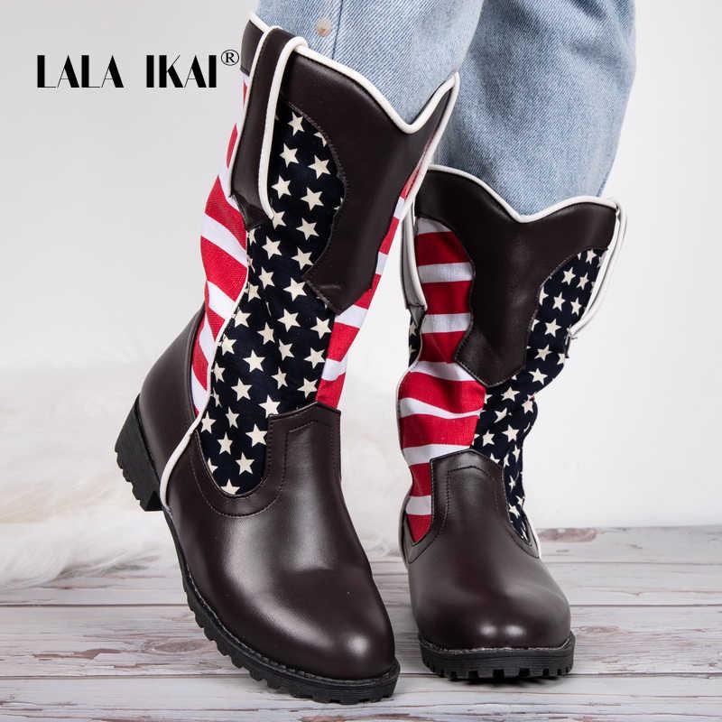 LALA IKAI femmes mi bottes 2019 cuir PU mixte couleur chaussures hiver chaud sans lacet talons carrés bottes imperméables bottes XWC5392-4
