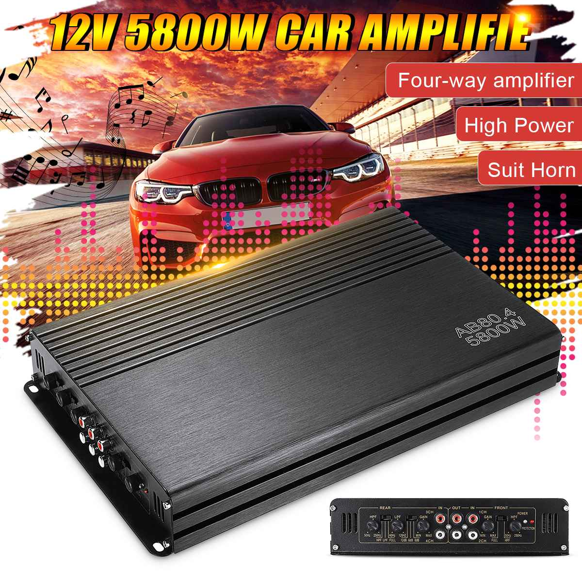 5800W 12V 4 Channel Car Amplifier Subwoofer High Power Vehicle Audio Amplifier HiFi Stereo Car Sound Amplifiers