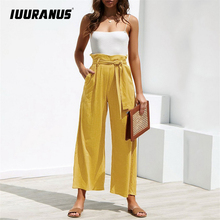 IUURANUS 2019 Women Belt Female Summer Pants Wide Leg Solid Color Cotton High Waist Tie Front Casual Loose Trousers
