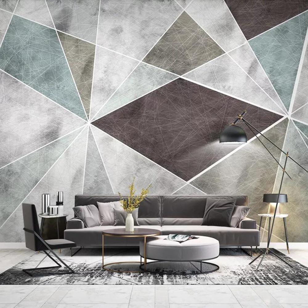 Drop Shipping Custom 3D Wallpaper Mural Nordic Geometric Modern Minimalist Living Room Background Wall Painting Wallpaper