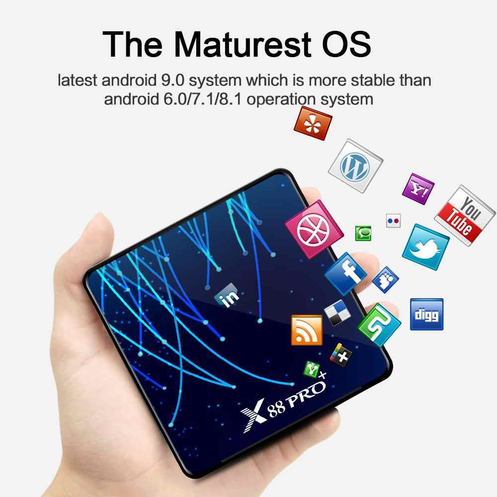 X88 PRO TV Box für Android 9,0 RK3368 Octa-Core 64bit Cortex-A53 Chipsatz 4GB DDR3 SDRAM + 128 GB/64 GB/32 GB Flash 4K HD Top Box r60