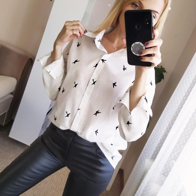 Womens Birds Print Shirts 35% Cotton Long Sleeve Female Tops 2020 Spring Summer Loose Casual Office Ladies Shirt Plus Size 5XL