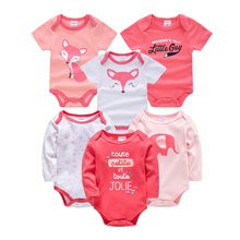 цены Baby Girls Bodysuits Cotton Infant Jumpsuit Short Sleeve Newborn Baby Clothing 6pcs/lot Summer Baby Girls Boys Clothes Roupa de