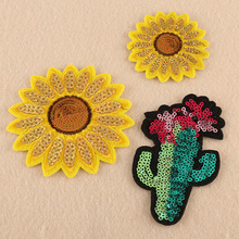 100pcs/lot Large Sequins Embroidery Patches Clothing Decoration Accessories Sunflower Cactus Diy Iron Heat Transfer Applique