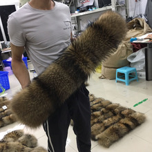Настоящий натуральный меховой воротник большой роскошный шарф из меха енота 50 см 70 см зимнее Мужское пальто Мужская парка с капюшоном шарфы для женщин Diy#24