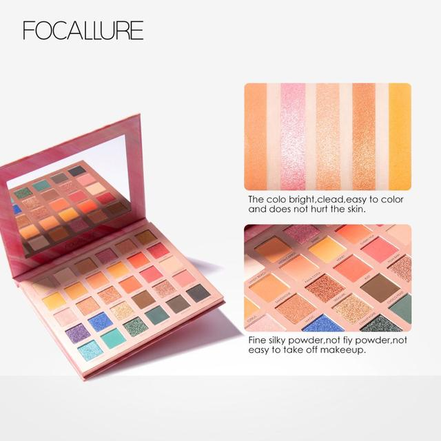 FOCALLURE 30 Colors Matte Shimmer Eyeshadow Palette Waterproof Easy to Blend Rich Color Eyes Shadow For Daily Party
