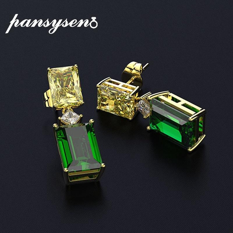 PANSYSEN Gold Color Vintage Elegant Women's Emerald Drop Earrings 100% 925 Sterling Silver Gemstone Earrings Fine Jewelry Gift