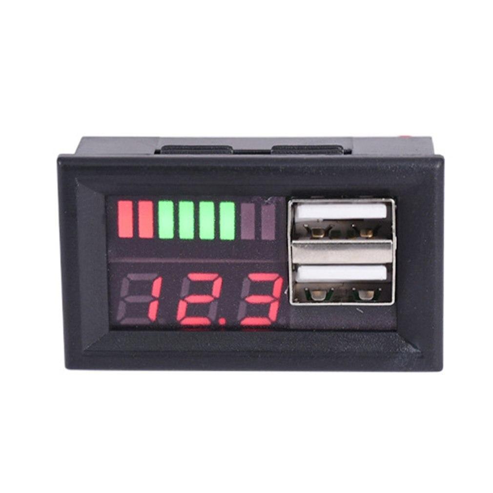 LED Digital Display Voltmeter Voltage Meter Volt Tester Dual USB 5V 2A For DC 12V Cars Motorcycles Vehicles Battery Capacity Hot