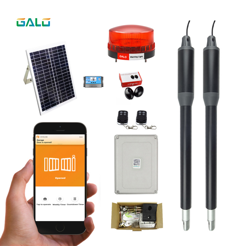 solar system Driveway Electric 220VAC24VDC Linear Actuator 200kg Engine Motor System Automatic Wifi controller Swing Gate Opener