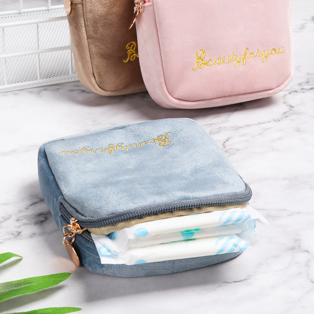 Sanitary Pad Tampon Storage Bag Diaper Napkin Package Bags Cosmetic Girl Makeup Pouch Coin Purse Jewelry Women Tampon Organizer