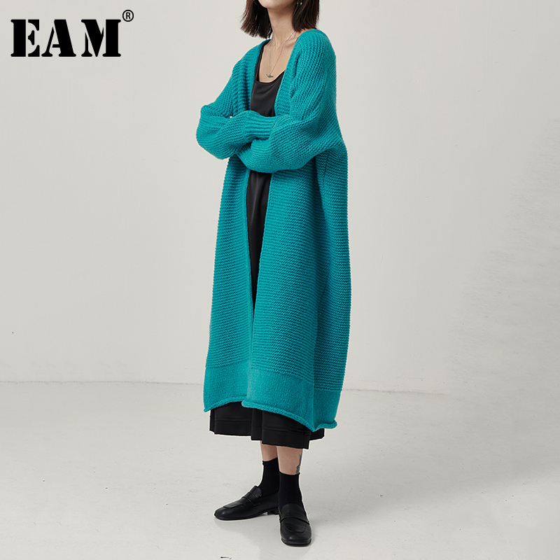 [EAM] Causal Simple Big Size Knitting Sweater Loose Fit V-collar Long Sleeve Women New Fashion Tide Spring Autumn 2020 1B631