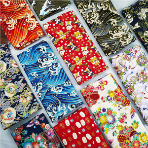 Black Red Cotton Cherry Blossom Bronzing Fabric, Butterfly Crane Precut Sewing Fabric Patchworks Quilting DIY Japanese Fabric(China)
