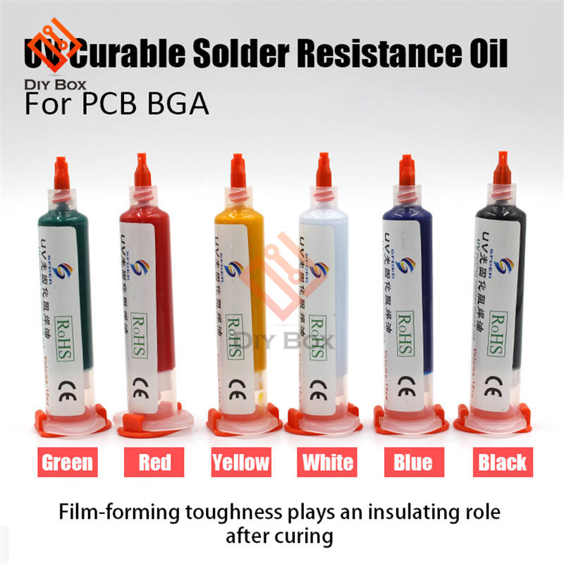 6 Colours UV Curable Solder Mask Oil Welding Fluxes 10CC For PCB BGA Circuit Board Protect Soldering Paste Flux Cream