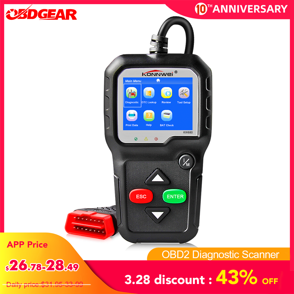 2020 Best Quality OBD2 Car Diagnostic Scanner KONNWEI KW680s Full OBD2 Function OBD 2 Auto Scanner  OBD2 Car Diagnostic Tool