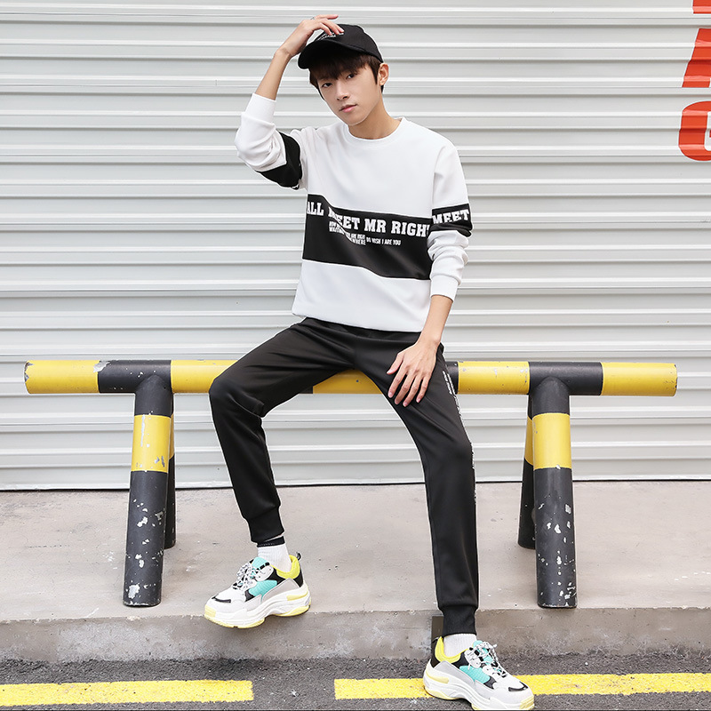Autumn Men Trend New Style Casual Long Sleeve Crew Neck Loose-Fit Hoodie Suit Teenager Sports Clothing Students
