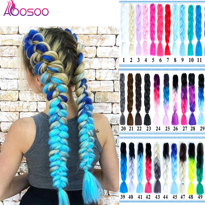 AOOSOO Ombre Braiding Hair Kanekalon Synthetic Braiding Hair Crochet Blonde Pink Blue Grey Hair Extensions African American 24''