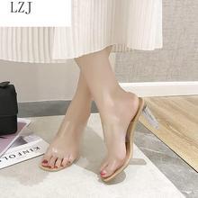 2019 HOT Clear Heels Slippers Women Sandals Summer Shoes Wom