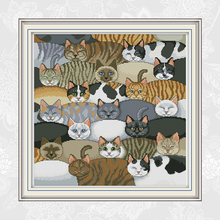 Cats Patterns Counted Cross Stitch Printed Cloth 11CT 14CT D