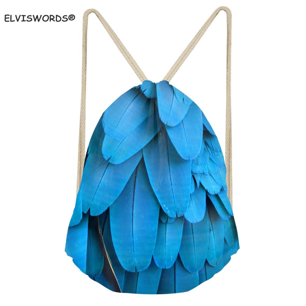 ELVISWORDS 3D Peacock Feather Print Drawstring Backpack Outdoor Sports Travel Gym Sack Bags Rucksack Bookbags Yoga Bag Child Bag
