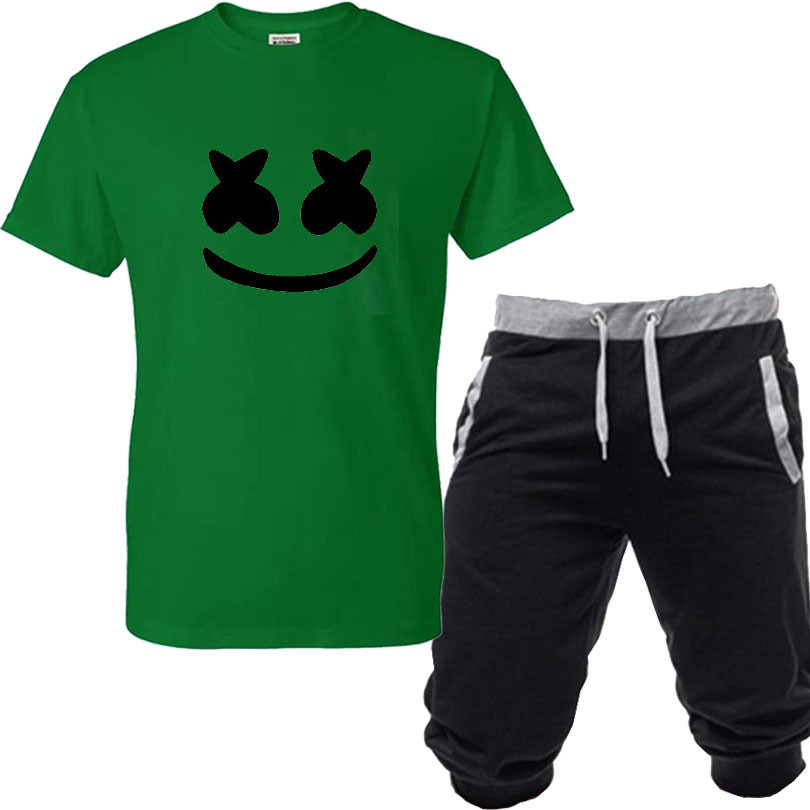 2019 Occident Fashion MA 'Rsh' Me 'L' L O Printing Short-sleeved T-shirt + Capri Shorts Men And Women Leisure Suit