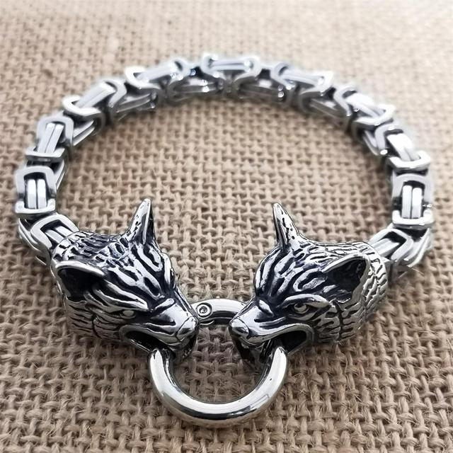 Bracelet loup  acier empereur  2