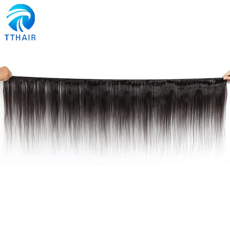 Image 2 - TTHAIR Straight Hair Bundles With Closure Remy Peruvian Hair Weave Bundles Human Hair Extension 3 Bundles With Closure-in 3/4 Bundles with Closure from Hair Extensions & Wigs