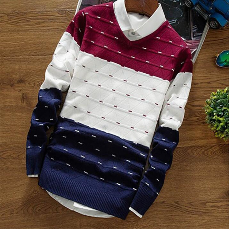 Men's Pullover Sweaters New Autumn Winter Clothing Knitting Fashion Designer Casual Striped Man Knitwear Computer Knitted