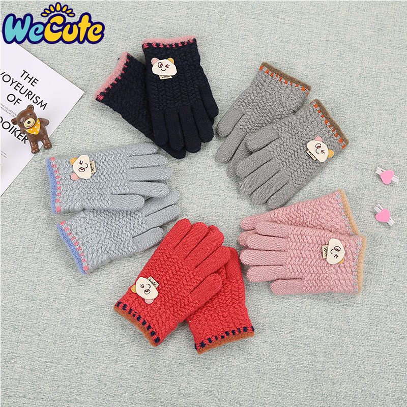 Winter Warm Gloves Lovely Robot Kids Baby Girl Full Fingers Wool Mittens Gifts